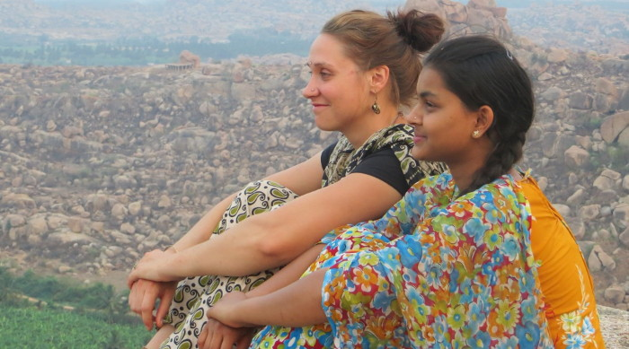 Louise à Hampi dans le sud de l'Inde.